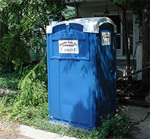 blue portable toilet